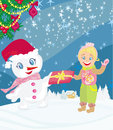 Snowman giving gifts illustration Royalty Free Stock Image