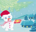 Snowman giving gifts illustration Royalty Free Stock Images