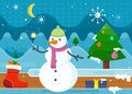Snowman in Green Hat and Pink Scarf. Wonderland Royalty Free Stock Photo