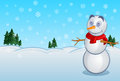 Snowman happy stands in snowy day Royalty Free Stock Photo