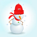 Snowman happy stands in snowy day Royalty Free Stock Photography