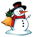 Snowman in a hat i present to you christmas icon Stock Photos