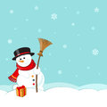 Snowman with hat, scarf and broom on winter landscape background Royalty Free Stock Photo