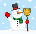 Snowman holding a broom and waving Royalty Free Stock Photo