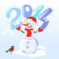 Snowman holding a digit year vector illustration Stock Photos