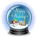 Snowman holding a gift box in snow globe with holiday message file includes transparency clipping mask Stock Photo