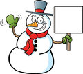 Snowman holding a sign Royalty Free Stock Photos