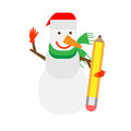 Snowman holds a pencil illustration of on white background Stock Images