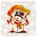 Snowman with holiday banner Royalty Free Stock Photography
