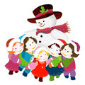 Snowman hugging kids Royalty Free Stock Photo