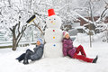 Snowman and kids Royalty Free Stock Photo