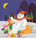 Snowman and kids Royalty Free Stock Images
