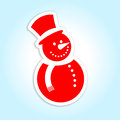 Snowman label design of a happy Royalty Free Stock Image