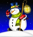 Snowman with lantern cylinder and Royalty Free Stock Images