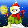 Snowman with lantern and green sweater Stock Photos