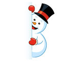 Snowman looking round the door illustration of a happy in top hat peering out isolated on white background Stock Photos