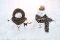 Snowman love two hand to hand shows the true Royalty Free Stock Photography