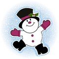 Snowman making snow angel Royalty Free Stock Photos