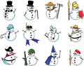 Snowman in many costumes; farmer, magician, doctor Royalty Free Stock Photo