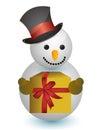 Snowman med hatten och gåvan Arkivbilder