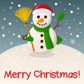 Snowman merry christmas card with a cartoon holding a broom in a snowy scene eps file available Stock Photo