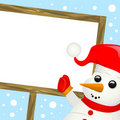 Snowman with message sign Royalty Free Stock Image