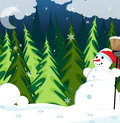Snowman in the night forest Royalty Free Stock Photo
