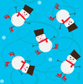Snowman pattern seamless of cute ice skating eps Royalty Free Stock Photography