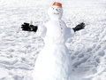 Snowman photography with scene on snow background Royalty Free Stock Photo