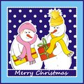 Snowman picture of mr and mrs text merry christmas Royalty Free Stock Photography