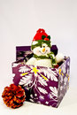 Snowman, pine cone and purple gift ox Royalty Free Stock Images