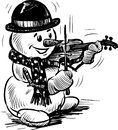 Snowman playing the violin vector drawing of a cheerful on a Stock Images