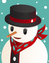 Snowman portrait on snow background Royalty Free Stock Image