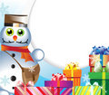 Snowman-postman with gifts Royalty Free Stock Photo
