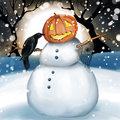 Snowman with pumpkin head Royalty Free Stock Photo