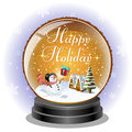 Snowman receiving a christmas gift box in snow globe holiday message file includes transparency clipping mask Royalty Free Stock Photography