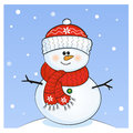 Snowman with red cap Stock Photo
