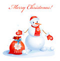 Snowman   with red christmas sack Royalty Free Stock Image