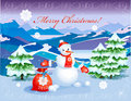 Snowman   with red christmas sack Royalty Free Stock Photography