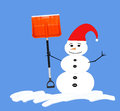 Snowman with red hat and shovel black buttons holding or orange snow isolated to blue background Stock Images