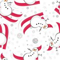 Snowman red ski seamless pattern Stock Photo