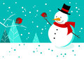 Snowman and Robins Stock Photography