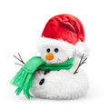 Snowman in santa claus xmas red hat isolated on white background Stock Photos