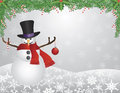 Snowman with Scarf with Garland Background Stock Photography