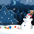Snowman and scattered Christmas decorations Royalty Free Stock Photo