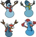 Snowman shows hand gestures:thumbs up, V sign, that rocks,Ok vector illustration.