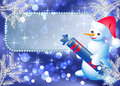 Snowman and signboard Stock Images