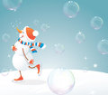 Snowman on skates Royalty Free Stock Photos