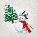 Snowman skating happy with christmas tree illustration Royalty Free Stock Images