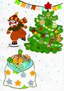 Snowman skiing, christmas tree with gifts, garland, child drawing Royalty Free Stock Photo